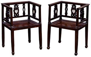 Chinese Export Hardwood Armchairs