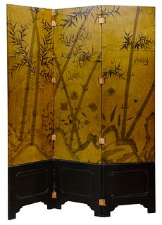 Asian Three Panel Lacquered Screen