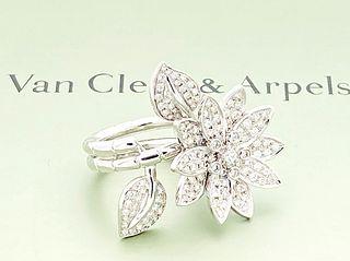 VAN CLEEF & ARPELS 18K DIAMOND LOTUS RING