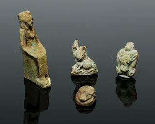 Lot of 4 Egyptian Glazed Faience Amulets - Zoomorphs