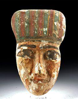 Egyptian Gilded Cedar / Painted Gesso Mummy Mask
