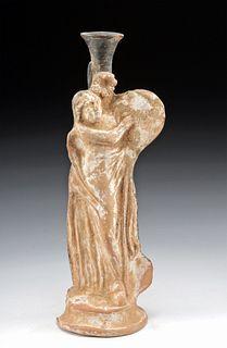 Greek Hellenistic Pottery Vessel of Standing Woman