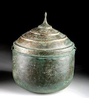 Rare Greek Bronze Lidded Cauldron (Lebes / Urn)
