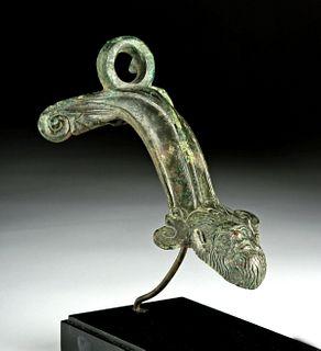 Roman Bronze Handle w/ Silenus Face