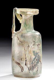 Roman Glass Handled Jug w/ Applied Planta Pedis