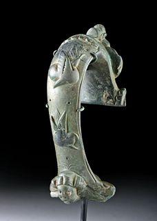 Attractive Roman Bronze Handle w/ Cherub & Woman