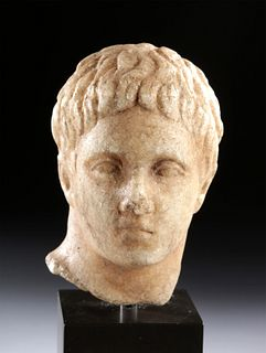 Naturalistic Roman Marble Head of Male Youth
