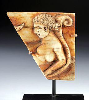 Roman Bone Relief Fragment - Reclining Nude Goddess