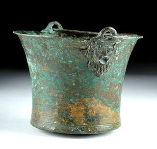 Gorgeous Roman Bronze Situla w/ Mask Handles