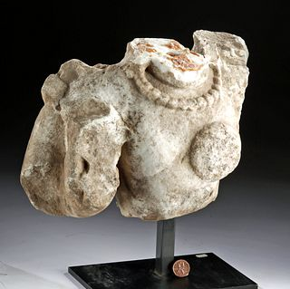 Roman Painted Marble Upper Torso of a Man
