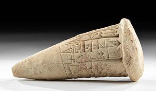 Translated Sumerian Clay Cuneiform Foundation Cone