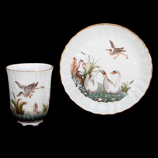 Meissen Swan Cup and Saucer.