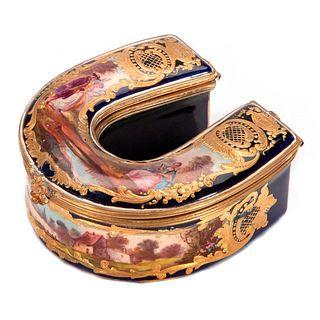 Sevre Style Horse Shoe Box