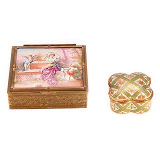 Quartifoil Sevre Box and a Square Brass Box with Painted Panel