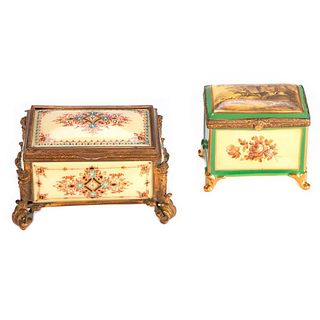 Two Continental Porcelain Painted Boxes.