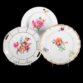 Three Porcelain Plates all with Florals.