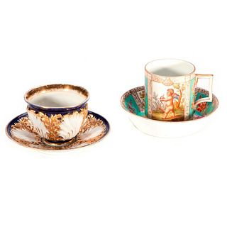 Blue and Gold Meissen Cup and Saucer and a Dresden Cup and Saucer
