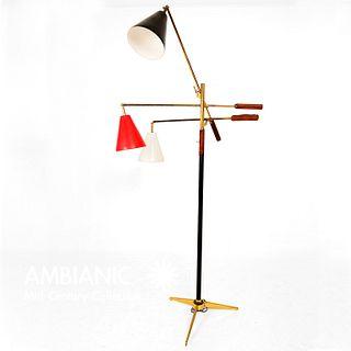 Mid Century Modern Early Triennale Floor Lamp BrassBrown Leather Angelo Lelli