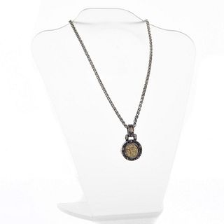 14K GOLD ITALIAN PENDENT WITH GOLD FLOWERS NECKLACE
