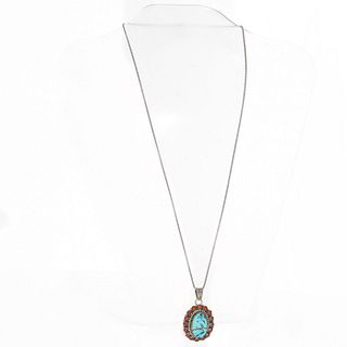 BEA TOM NAVAJO TURQUOISE AND RED CORAL PENDANT NECKLACE