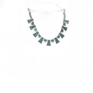 MEXICAN STERLING SILVER NECKLACE W. INLAID TURQUOISE