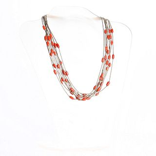 NATIVE AMERICAN LIQUID SILVER AND RED CORAL NECKLACE