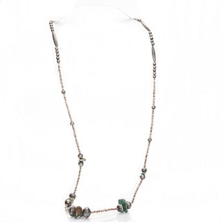 NATIVE AMERICAN SILVER, SHELL, & TURQUOISE NECKLACE