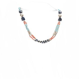NATIVE AMERICAN STYLE SILVER BEADED NECKLACE