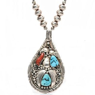 NAVAJO OLD PAWN STYLE STERLING SILVER NECKLACE