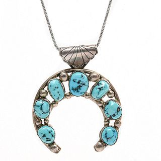 NAVAJO STYLE STERLING SILVER W. TURQUOISE NECKLACE