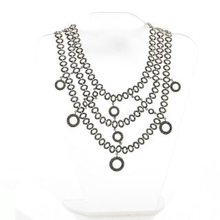 STERLING SILVER & MARCASITE NEOCLASSICAL CLASP NECKLACE