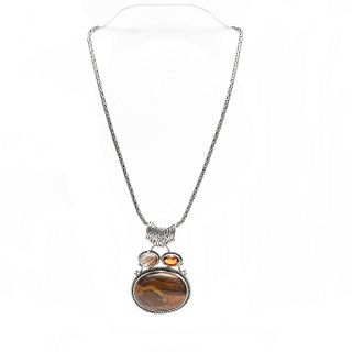 STERLING SILVER NECKLACE W. TIGER'S EYE AGATE