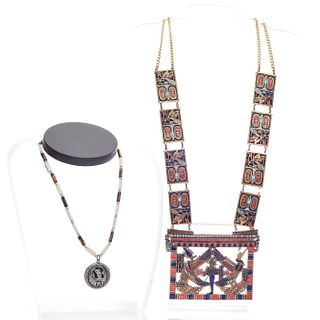 EGYPTIAN STYLED LARGE PLATED NECKLACE WITH OTHER