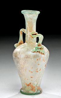 Fine Roman Glass Vase w/ Trail Handles