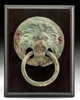 Roman Bronze Lion Head Handle w/ Ring