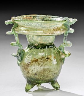 Roman Glass Footed Sprinkler Flask w/ Pinched Handles