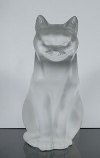 Lalique Crystal Sitting Cat 'Chat Assis', Signed