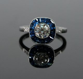 Vintage Style Platinum Diamond & Sapphire Ring