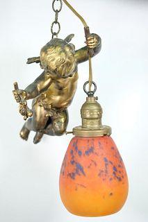 Gilt Bronze & Art Glass Figural Hanging Light