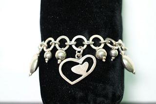 Modern Sterling Silver Charm Bracelet, 38.42 grams