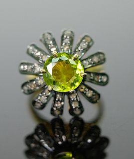 Impressive 3.5 ct Peridot & Diamond Ring, Size 8