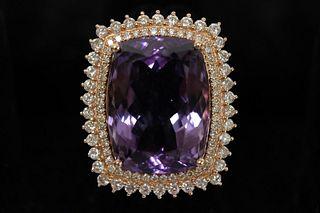 24.90 CT Amethyst & Diamond Ring Sz 7.5