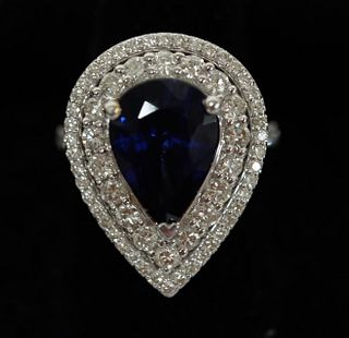 6.14 CT Tanzanite & Diamond Ring Sz7