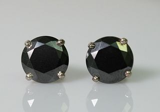 Substantial 8.29ct Black Diamond Earrings
