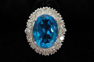 11.20 CT Topaz & Diamond Ring Sz 6