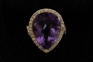 14.59 CT Amethyst & Diamond Ring sz7.5