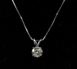 14K White Gold & 0.75 CT Diamond Pendant Necklace