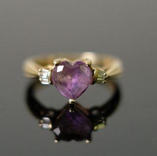 14K YG Amethyst & Diamond Ladies Ring, size 7