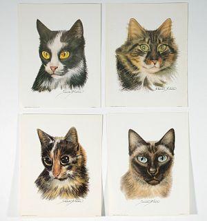 Group, Four Cat Lithographs, Arthur Kaplan 1960's