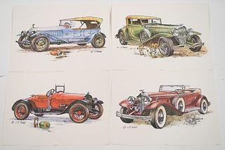 Group, 4 Antique Car Litho's Arthur Kaplan Co 1960